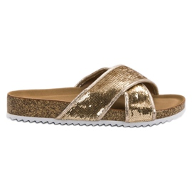 Kylie Gold Slippers With Sequins yellow