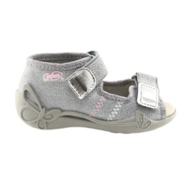 Grey Befado children's shoes 342P002 silvery