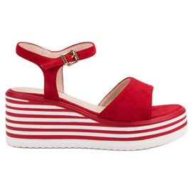 Vinceza Comfortable Wedge Sandals red