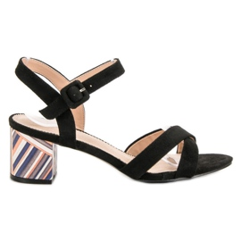 Filippo Sandals with an ornate Heel black