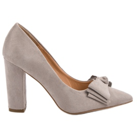 Seastar Suede Pumps With Bow grey