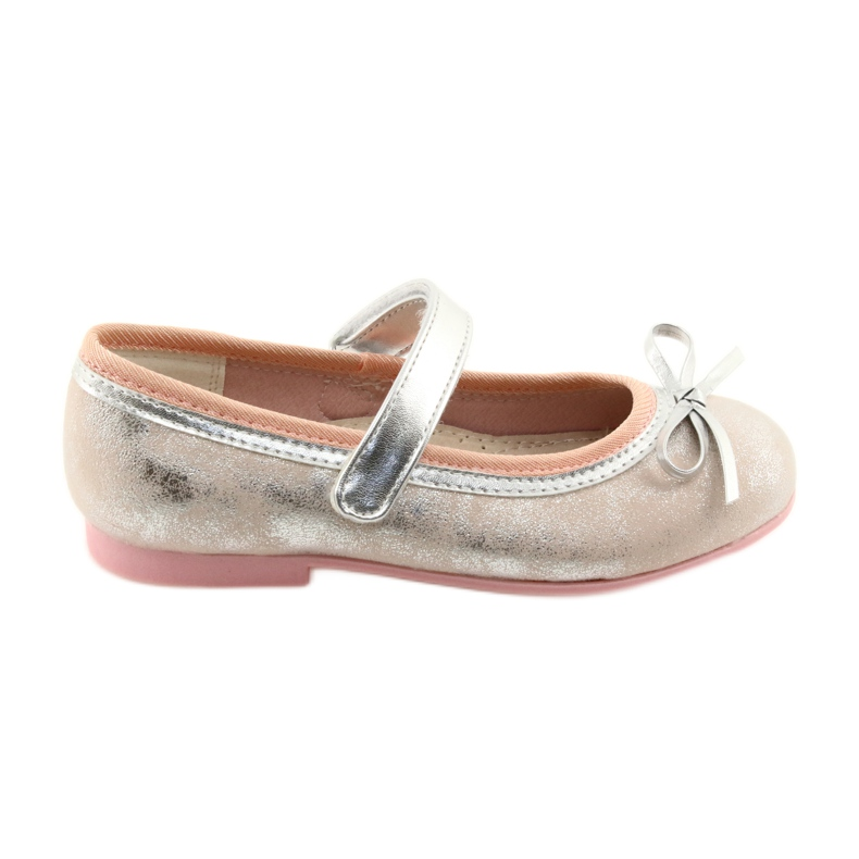 Ballerina shoes with American Club GC18 bow grey pink