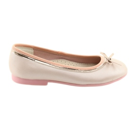 Ballerinas with a bow pink pearl American Club GC14 / 19 golden