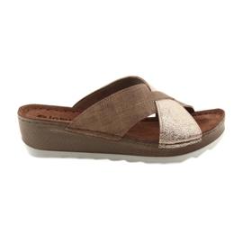 KOMFORT INBLU GX06 brown / gold slippers