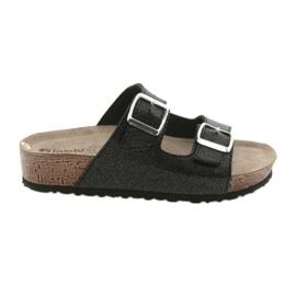 Inblu NM013 black women's slippers with silver flecks
