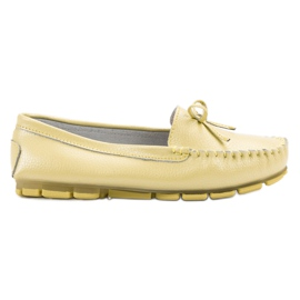 Filippo Leather Loafers With Bow yellow