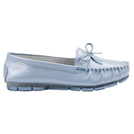 Filippo Leather Loafers With Bow blue