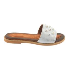 Grey Women's slippers Daszyński 1837 pearls