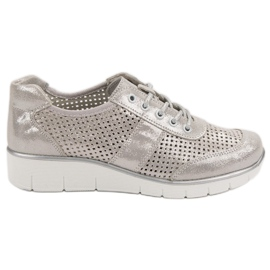 Filippo Openwork leather shoes grey