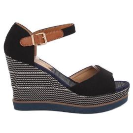 Sandals, wedge heels, black 9079 Black