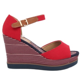 Sandals on wedge heels red 9079 Red
