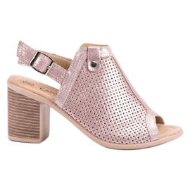 Filippo Leather Built-up Sandals pink