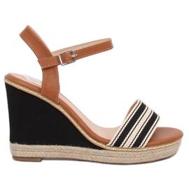 Sandals on wedges black 9068 Black