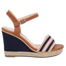Sandals on the wedge blue navy 9068 Blue