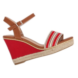 Sandals on wedge heels red 9068 Red