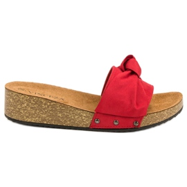 Suede Slippers VINCEZA red