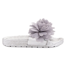 Seastar Gray Slippers With Flowers grey