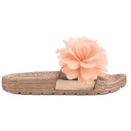 Seastar Orange Slippers With Flowers