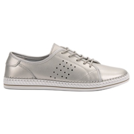 Kylie Lace-up Leather Shoes grey