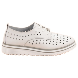 Kylie white Leather Openwork Shoes
