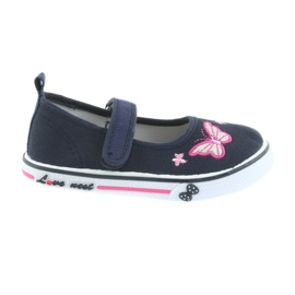 Navy blue ballet sneakers Atletico leather insole