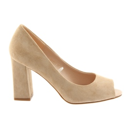 Suede pumps Sergio Leone 133 beige brown