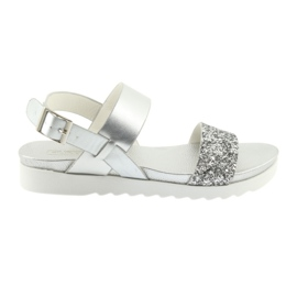 Comfortable silver sandals Filippo 685 grey