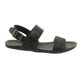 Comfortable black sandals Filippo 685 brocade