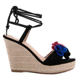 Seastar black Tied Sandals on Wedge