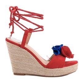 Seastar Tied Sandals on Wedge red