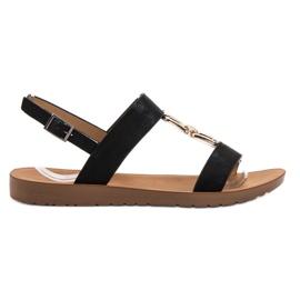 Black Flat Vinceza Sandals