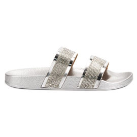 Seastar Silver Slippers With Crystals grey