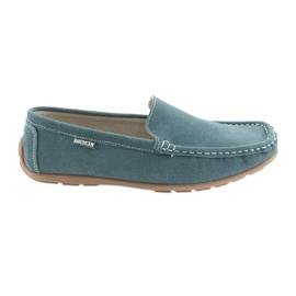 American Club Moccasins women's leather shoes denim blue