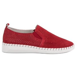 Filippo Leather Sneakers Slip On red