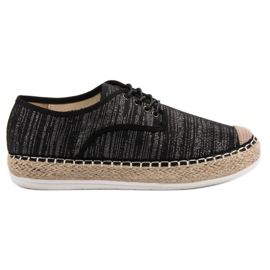 Small Swan black Lace-up Espadrilles