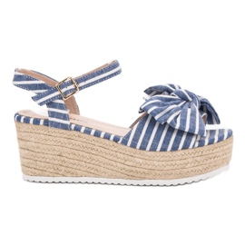 Seastar Wedge Sandals With Bow blue