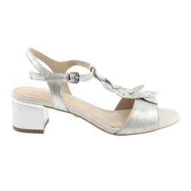 Sandals with silver caps. Caprice grey