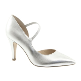 Shoes with strap Caprice 24402 silver grey