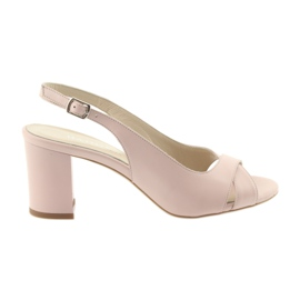 Women's sandals on the post Badura 4728 powder pink