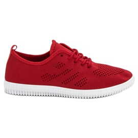 SHELOVET Textile Lace-up Footwear red