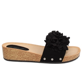Slippers with flowers black S63 Black