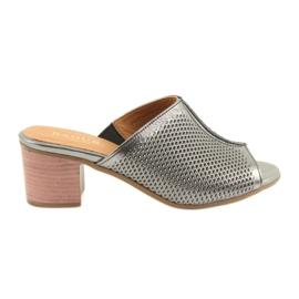 Grey Women's silver slippers Badura 5311