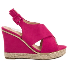Anesia Paris pink Suede Sandals On Wedge