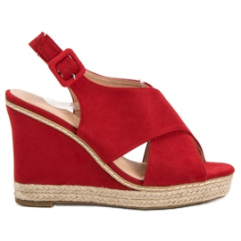 Anesia Paris Suede Sandals On Wedge red