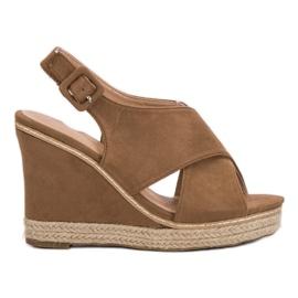 Anesia Paris Suede Sandals On Wedge brown
