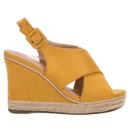 Anesia Paris yellow Suede Sandals On Wedge