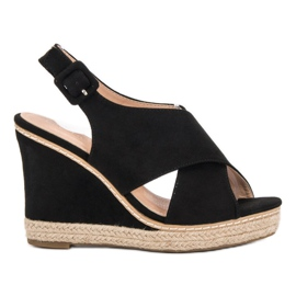 Anesia Paris black Suede Sandals On Wedge