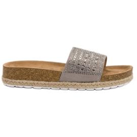 Seastar Gray Slippers With Zircons grey