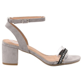 Ideal Shoes grey Stylish Suede Sandals