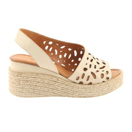 Brown Sandals on wedge heels Badura 4812 beige